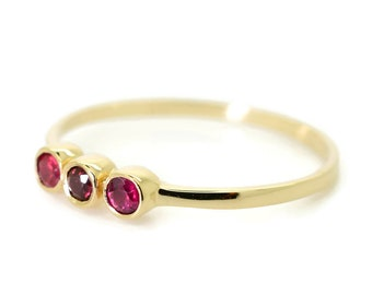 3 Stone Ruby Ring, Bezel Setting Ring, 14K Thin Gold Ring, Unique  Engagement Rings, Gold Ring, Thin Band, Wedding Band, Delicate Ring