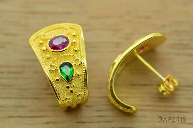 4c5e63d3920 Anniversary Gift Ideas For Women, Natural Ruby Emerald Earrings Yellow Gold  14K, Gold Earrings, Byzantine Earrings Hugging Greek Jewelry