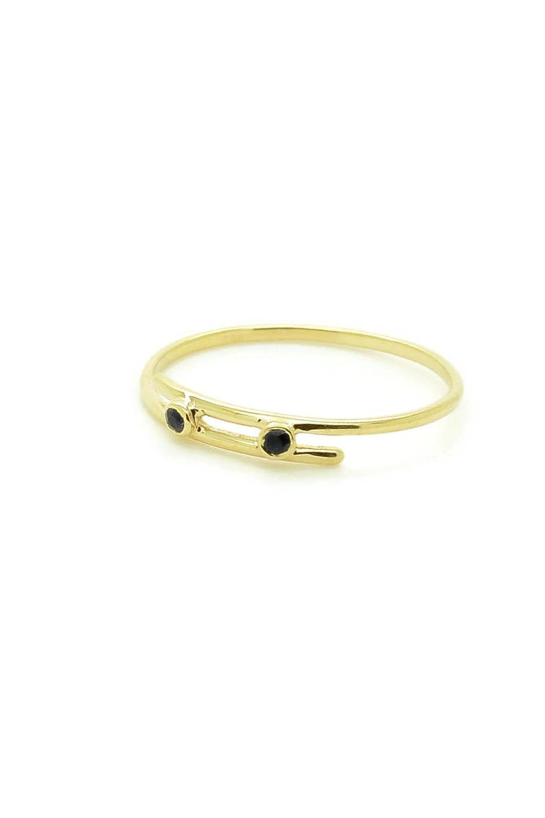Black Diamond Rings Delicate Black Diamond Ring Dainty Rings For Women Tiny Gold Rings Thin Gold Ring 14K Double Black Diamond Ring