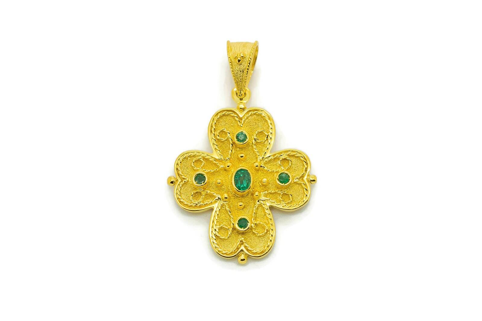 18K Gold Cross Natural Emerald Cross Orthodox Cross Greek | Etsy