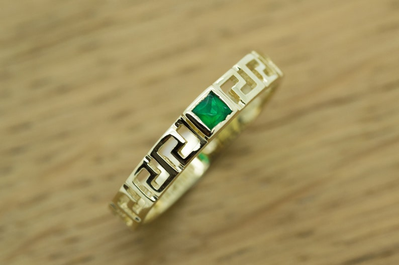 Stackable Rings 14K Solid Gold Greek key Ring white CZ White Sapphire Rubies Emeralds stones High Quality Handmade product Greek Art