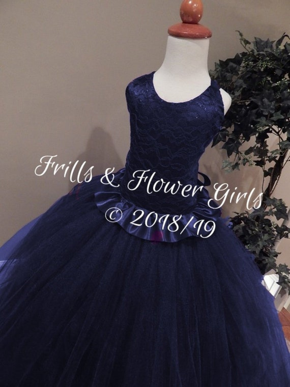 Navy Blue Corset Dress Lined Skirt Navy Halter Tutu Dress Flower Girl Dress Sizes 12 18 Mo Up To Girls Size 8 Measurements Required
