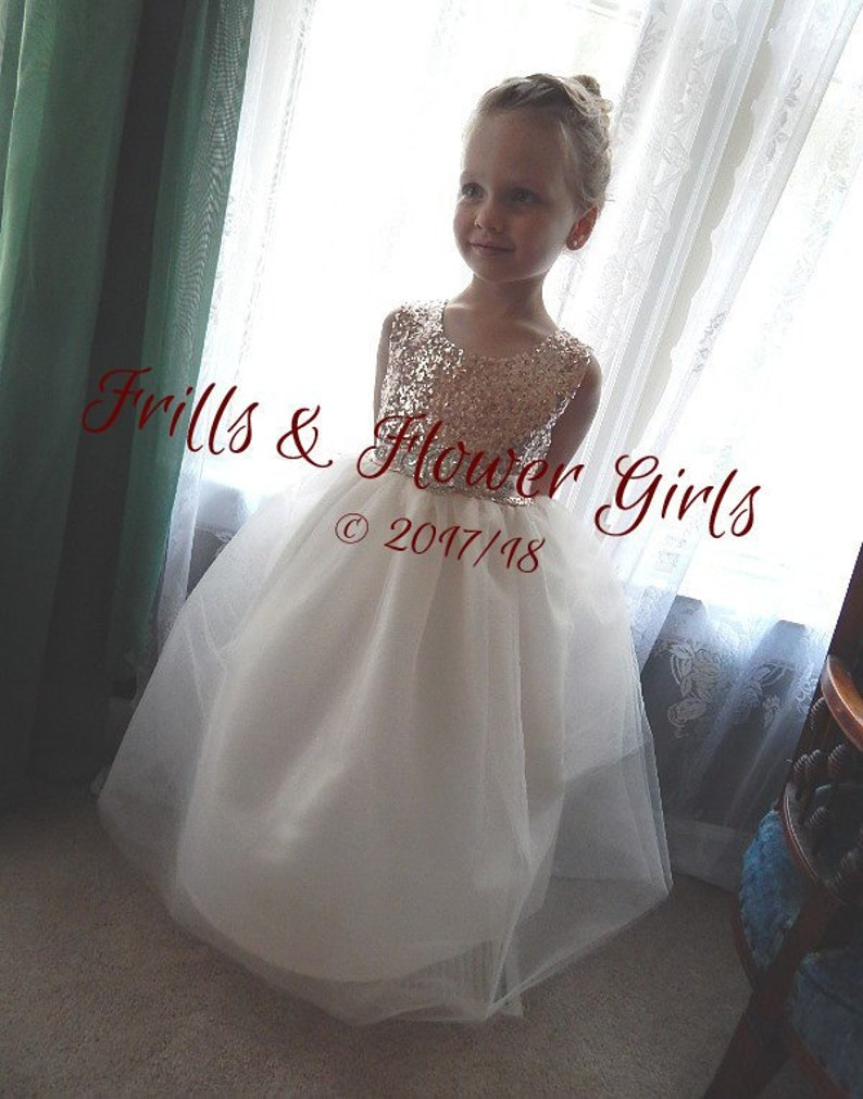eff595e110 Rose Gold SEQUIN Tulle Flower Girl Dress Rhinestone sash