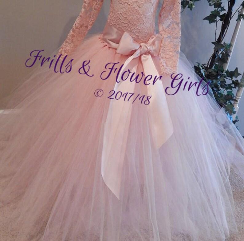 eb4996f07 Blush or Rose Quartz floor length Tutu with Satin LINED skirt with Rose  Quartz Ribbon Sash tutu skirt - Flower Girl Tulle Skirt