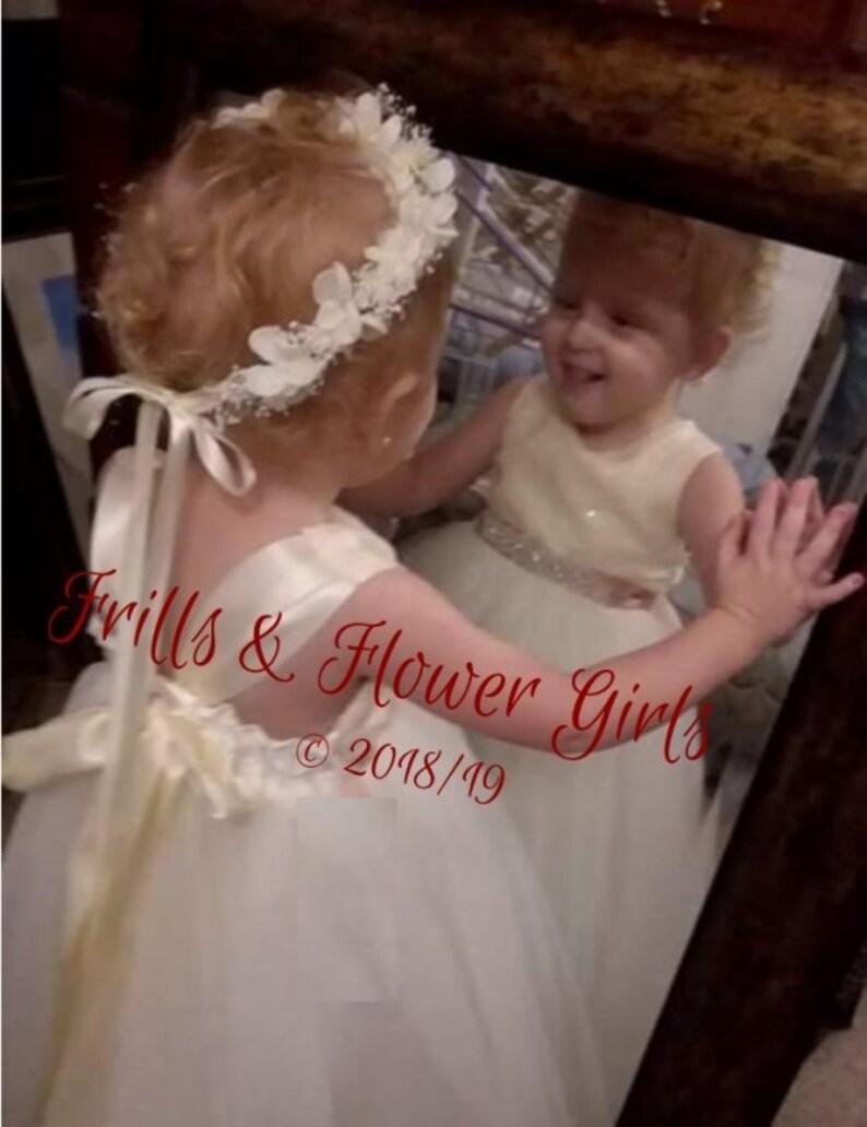 c5be3287e81a Ivory SEQUIN Tulle Flower Girl Dress Rhinestone sash Girls | Etsy