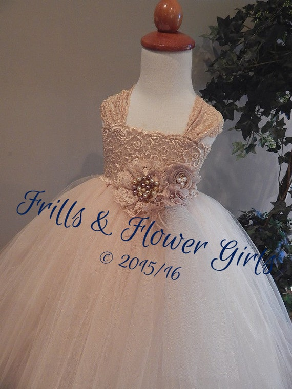 2c58df3bade Champagne Lace Flower Girl Dress LINED skirt Champagne Tulle