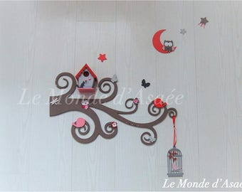 Wall decor: as a bird on branch - Taupe, red, pink and grey - A customize - custom