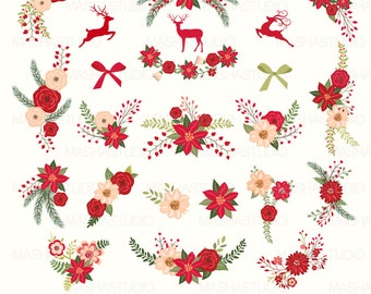 Christmas Flowers Clip Art Clipart With Floral Poinsettia 23 Images 300 Dpi PNG EPS Files