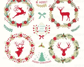 Christmas Clipart Wreaths With Reindeer Floral 15 Images 300 Dpi PNG EPS Files