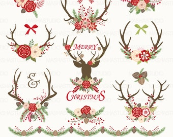 Christmas Clipart CHRISTMAS ANTLERS With Antler Floral 15 Images 300 Dpi PNG Files