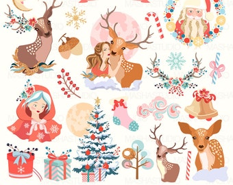 Christmas Clipart MAGICAL CHRISTMAS CLIPART With Santa Claus Reindeer Antler 27 Images 300 Dpi Png Files