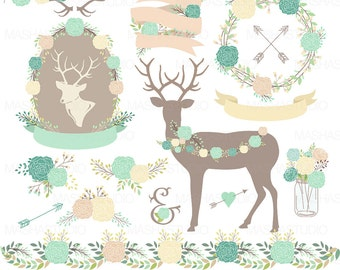 Wedding Clipart RUSTIC WEDDING CLIPART With Peonies Reindeer Antler Floral Frame Flower Ribbon For Invitations