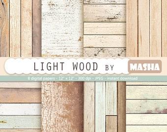 "Light wood digital paper: "" WOOD DIGITAL PAPER"" rustic wood texture, distressed wood, light wood, natural wood, digital wood background"