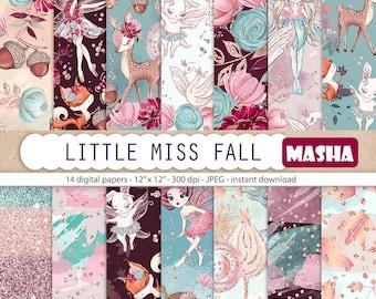 Little Miss Fall Digital Papers Fairy Digital Paper Fairy Pattern Forest Fairies Forest Pattern Fall Pattern Woodland Patterns Fairy Fabrics