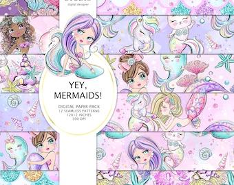 Mermaid Digital Papers, mermaid Patterns, Mermaid Surface Design, Sublimation Design, Mermaid Planner Stickers, Mermaid Fabric
