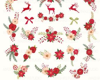 "Christmas flowers clip art: "" Christmas flowers clipart"" with floral christmas, poinsettia clipart, 23 images, 300 dpi. PNG, EPS files"