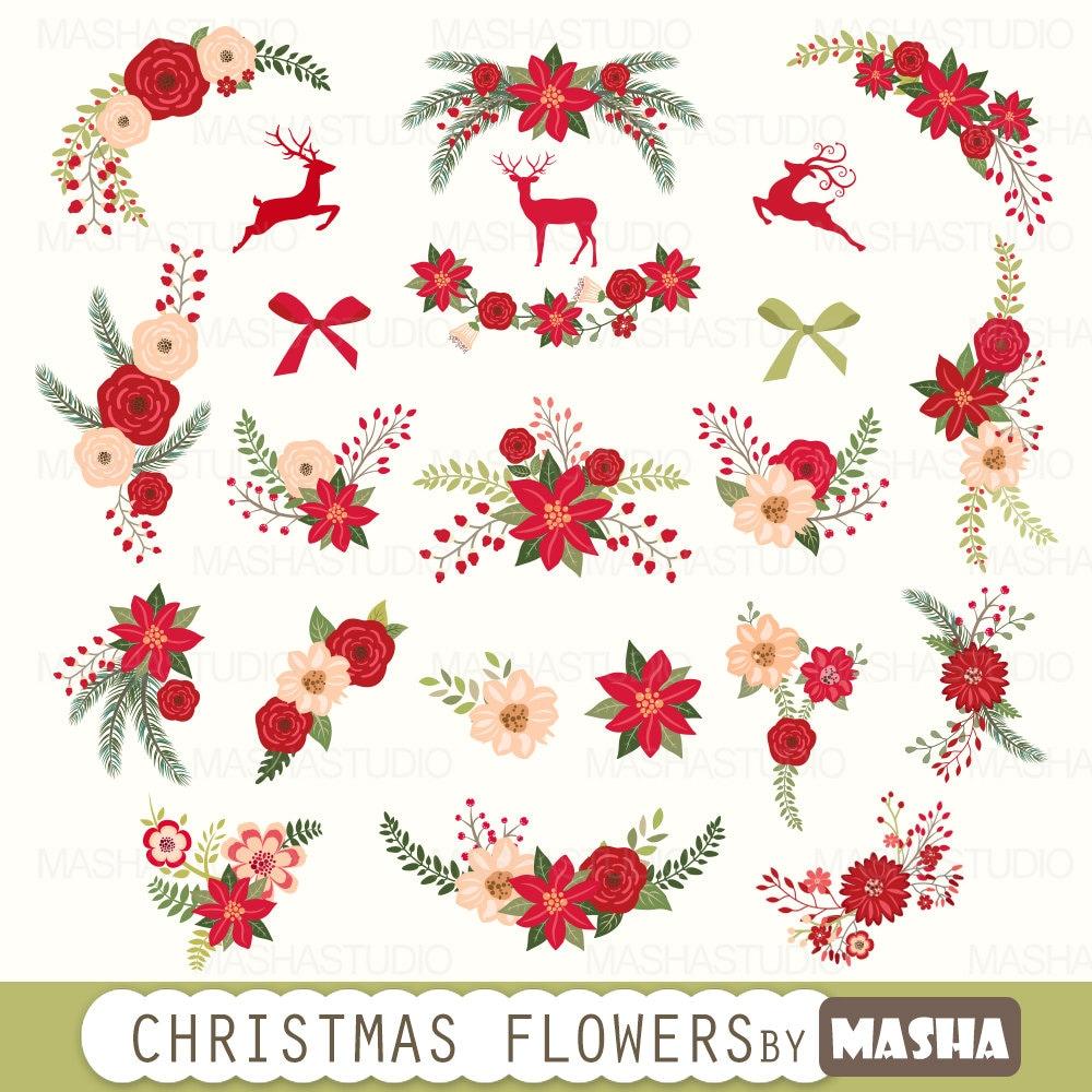 Weihnachten Blumen ClipArt: Weihnachten Blumen | Etsy