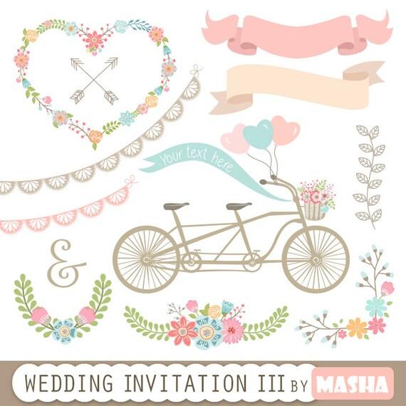 Hochzeit Einladung Clipart Iii Hochzeitseinladung Etsy