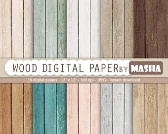 "Wood digital paper: ""WOOD DIGITAL PAPER"" with rustic wood texture and distressed wood grain in brown, grey, teal, digital wood background"