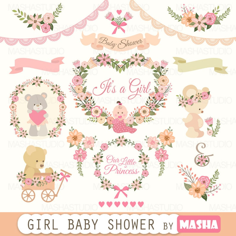 Baby Shower Clipart Girl Baby Shower Clipart With Etsy