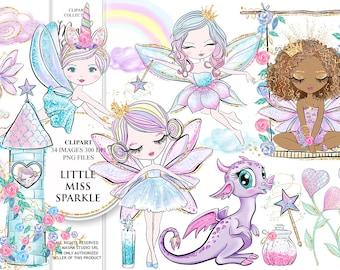 Fairy Clipart, Pixie Clipart, Castle Clipart, Cute Dragon Clipart, Swing Clipart, Fairytale Clipart, Rainbow Clipart, Fairy Illustration