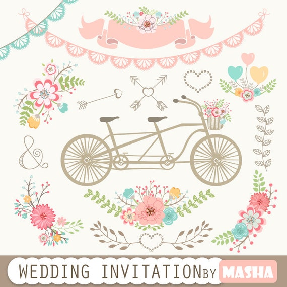 wedding invitation clipart wedding invitation with tandem clipart rh etsystudio com wedding invitations clipart borders free wedding invitation card clipart