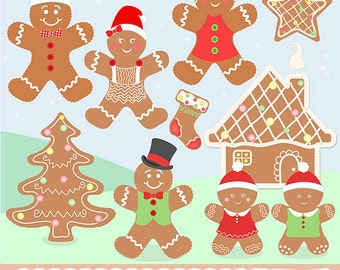 """Gingerbread Clipart: """"Gingerbread Friends"""" with gingerbread clip art, christmas clipart, gingerbread digital clipart, gingerbread house"""