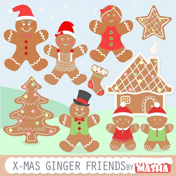 Gingerbread Clipart: Gingerbread Friends With
