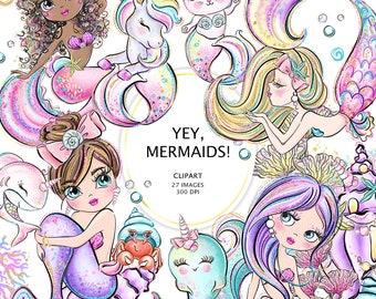 Mermaids Clipart, Mermaid Planner Stickers, Mermaid Sublimaion Design, Mermaid Unicorn, Mermaid Cat, Narwhal Clipart, Baby Shark