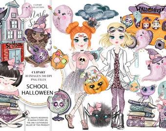 Halloween Clipart, School Clipart, Halloween Illustrations, Halloween Girl Clipart, Ghost Clipart, Skeleton Clipart, Cute Halloween Clipart