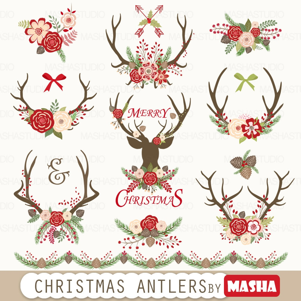 Christmas clipart: CHRISTMAS ANTLERS with antler | Etsy