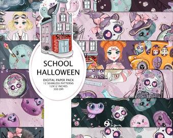 School Halloween Digital Papers, Halloween Digital Papers, School Papers, Halloween Pattern, Halloween Planner Stickers, Halloween Paper