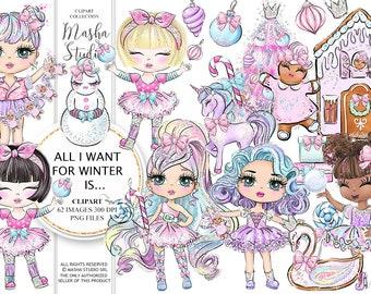 Winter Clipart, Glitter Dolls Clipart, Winter Dolls Clipart, Candy Christmas Clipart, Christmas Clipart, Nutcrakcer Clipart, Cute Girls