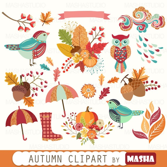 Herbst Cliparts Herbst Clipart Mit Herbst Etsy