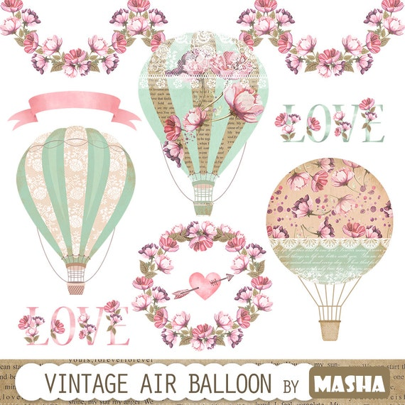 Vintage Balloon Clipart: Vintage Hot Air Balloon