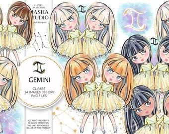 Gemini Girls Clipart, Gemini Clipart, Zodiac Clipart, Astrology Clipart, Zodiac Signs Clipart, Zodiac Illustrations, Planner Stickers