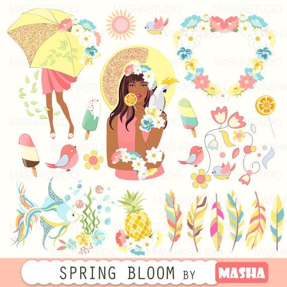 Frühling Clipart Frühling Blühen Clipart Mit Etsy