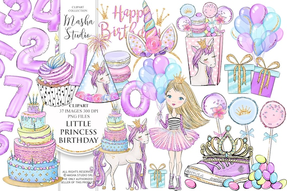 Birthday Clipart Princess Party Clipart Little Princess Etsy