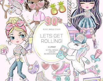 Masha Studio's 2021 Roller Skating Clipart, 90s Clipart, Roller Skates Clipart, 90s Illustrations, Fun Clipart, Planner Stickers, POD
