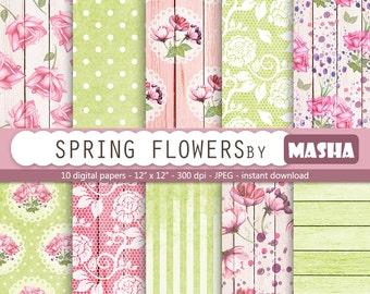 "Flower digital paper: ""SPRING FLOWERS"" with flowers digital paper, spring digital paper, wood, watercolor flowers digital paper, lace"