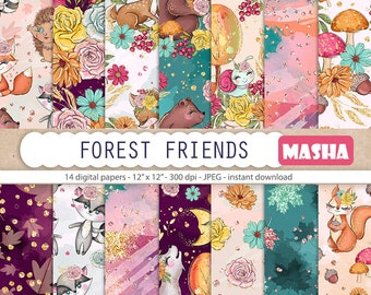 Forest Friends Digital Paper Pack Forest Pattern Animal Pattern Autumn Digital Paper Fall Pattens Deer Pattern Squirrel Pattern Fox Pattern