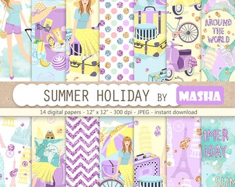 """Travel girl digital papers: """"SUMMER HOLIDAY"""" with travel digital paper, holiday pattern, travel pattern, summer pattern, SEAMLESS patterns"""