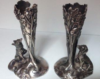 Pair of Antique WMF Art Nouveau Dog Vases