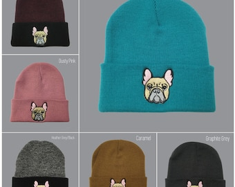 288bdfe8ec2 French Bulldog Beanie. Embroidered