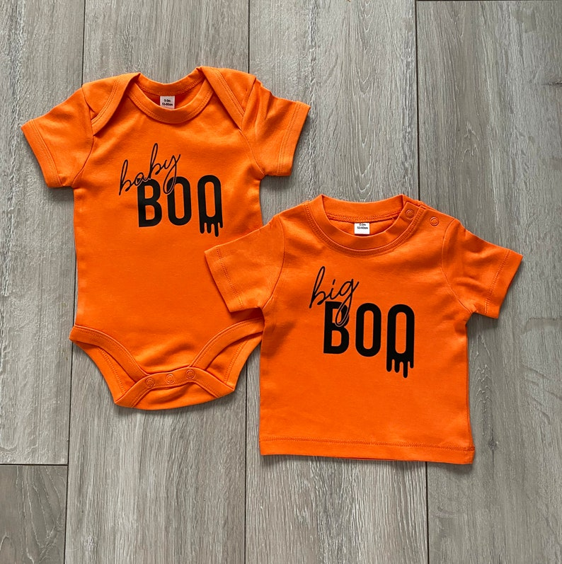 Baby Reveal Cute Gift Halloween Hallow-eve Spooky Costumes Matching Siblings Tops Twinning Big Boo /& Baby Boo T-Shirt or Babygrow