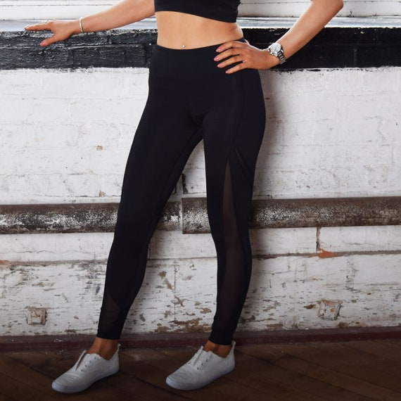 b4ad7337ff53a Mesh Black Twisted Saint Leggings. Sports wear gym clothing | Etsy
