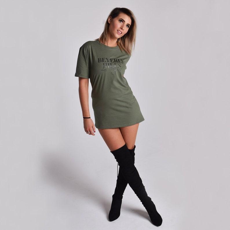 cfb630a2 Beverly Hills Oversized T-Shirt Dress. Fashion Slogan Casual | Etsy