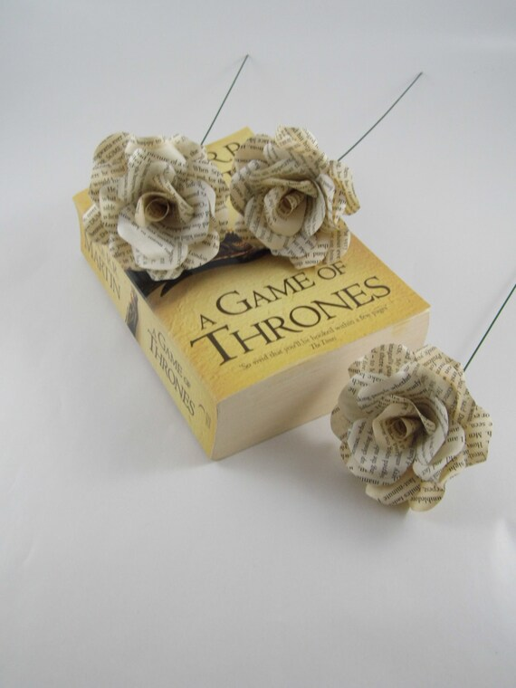 3 x game of thrones roses book page paper flower roses etsy image 0 mightylinksfo