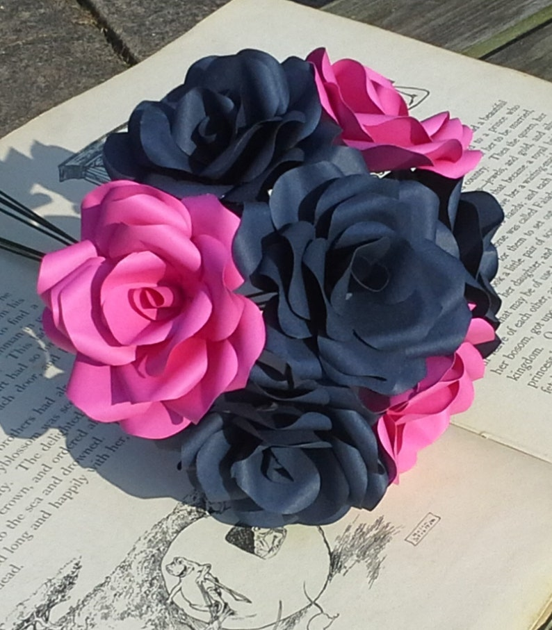 12 X Navy Blue Hot Pink Paper Flowers Handmade Paper Roses Alternative Flowers Wedding Flowers Paper Flowers