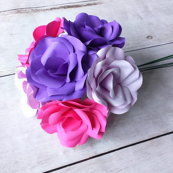 6 X Paper Flowers Purple Lilac Pink Roses Bouquet Handmade Roses Romantic Gift